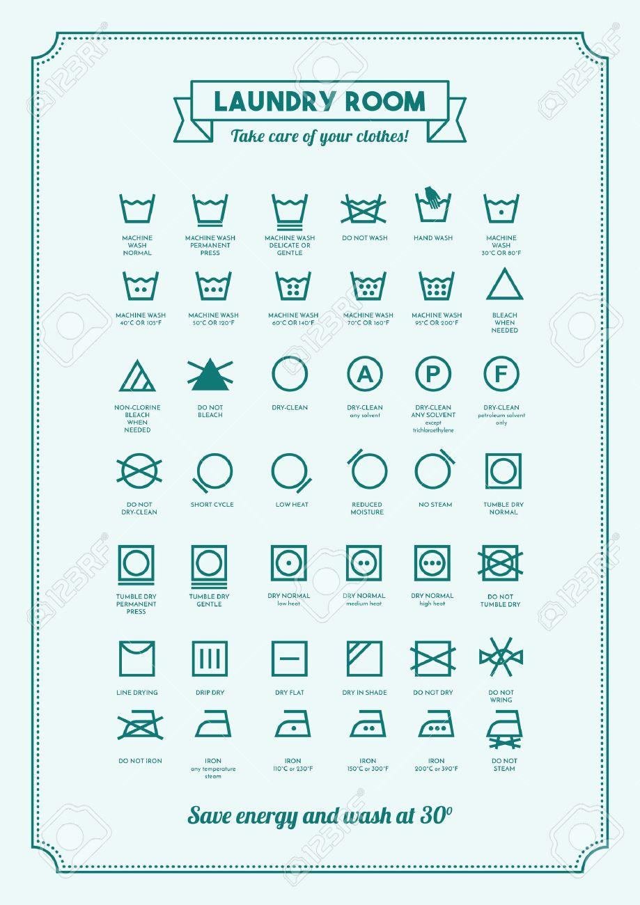 Fabuleux Blanchisserie Et Le Lavage Des Vêtements Symboles Avec Des Textes  VE39