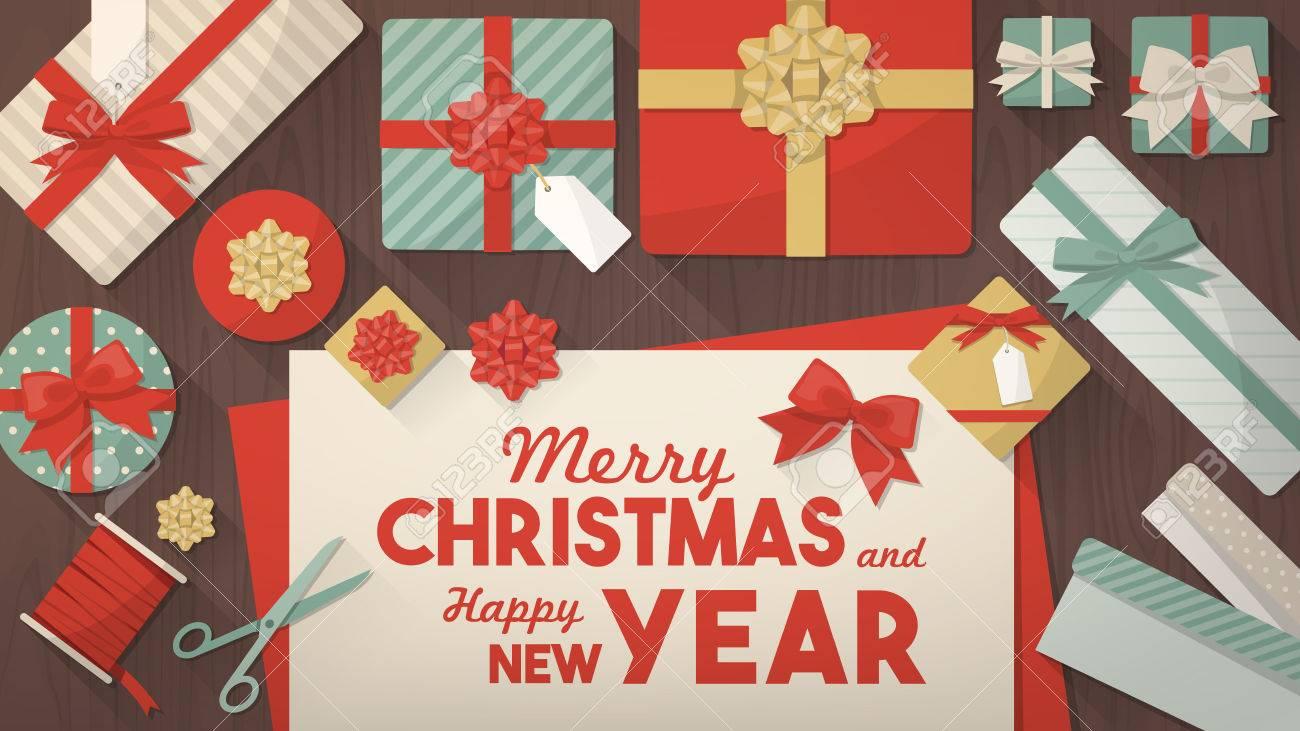 Vorbereitung Für Weihnachten Und Verpackung Der Geschenke ...