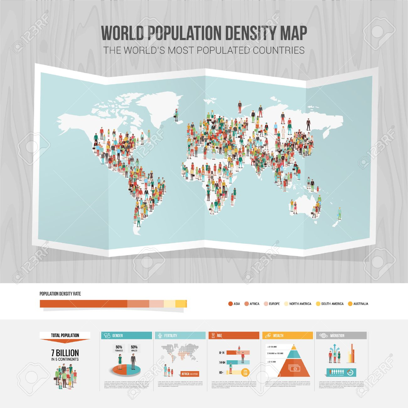 World population density map and demographic infographic royalty world population density map and demographic infographic stock vector 48742564 nvjuhfo Choice Image