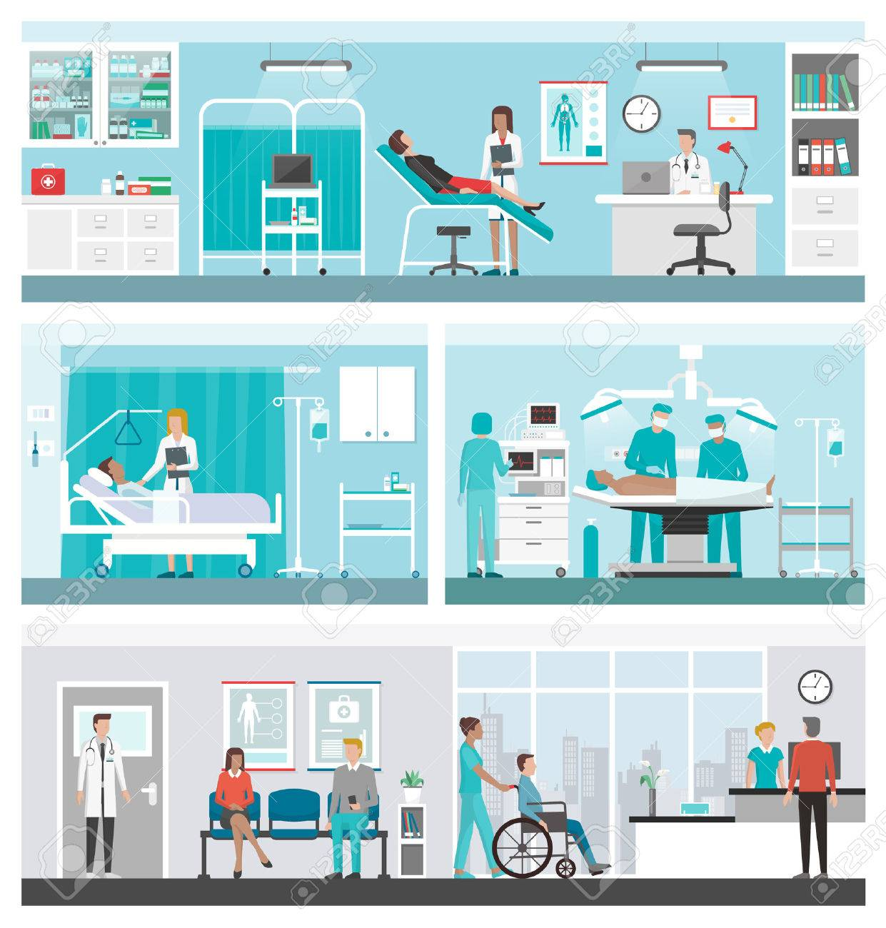 Hospital and healthcare banner set: doctors working in the office, ward, surgery, reception and patients waiting in the corridor - 52598501