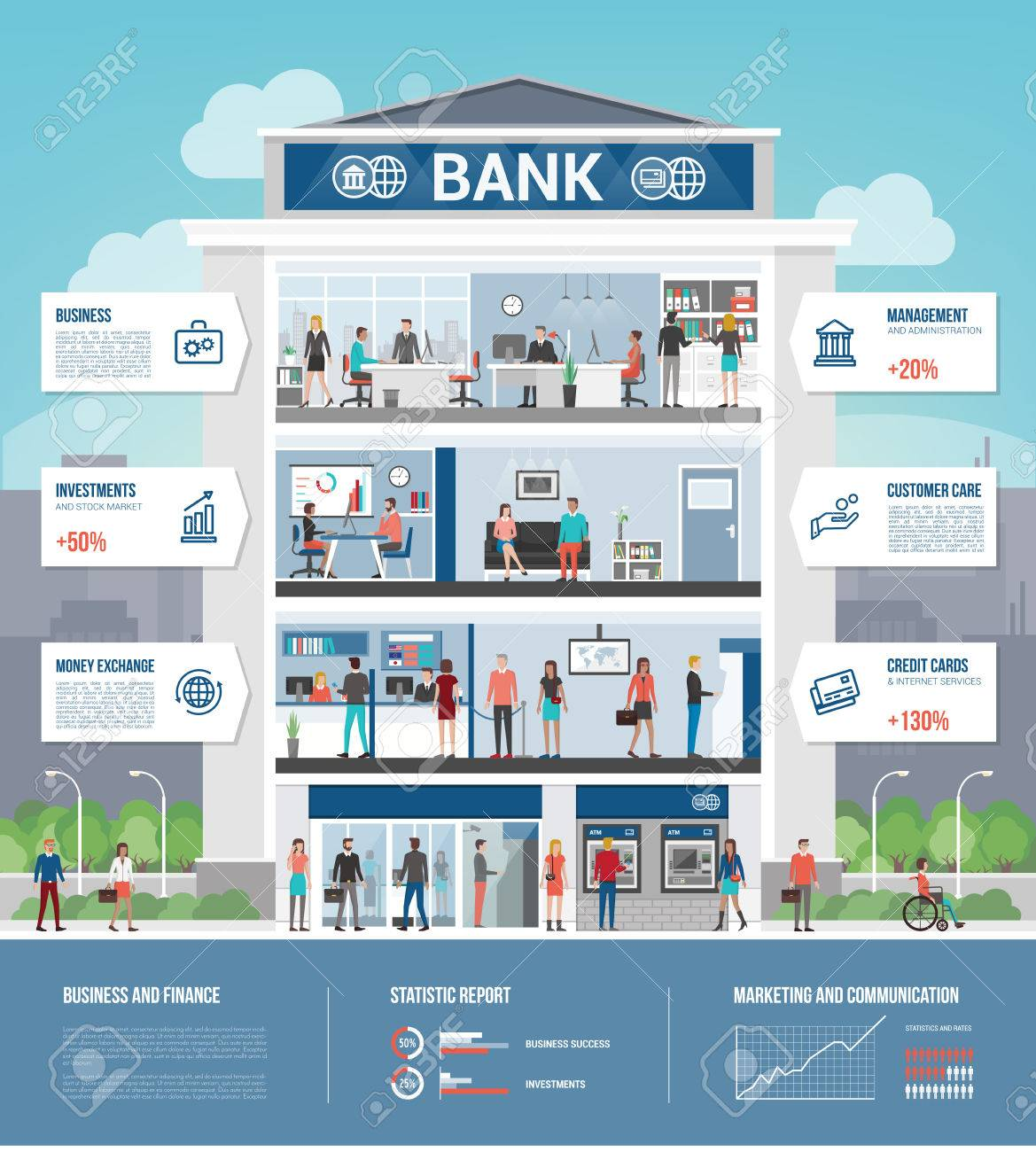 Bank building and finance infographic with interiors, text, icons set and people working - 52961180