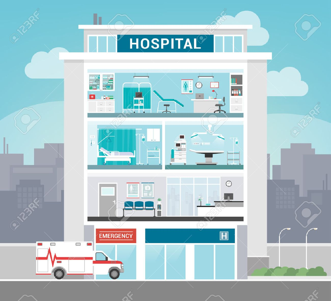 Hospital building with departments, office, operating room, ward, waiting room and reception, healthcare concept - 52961179
