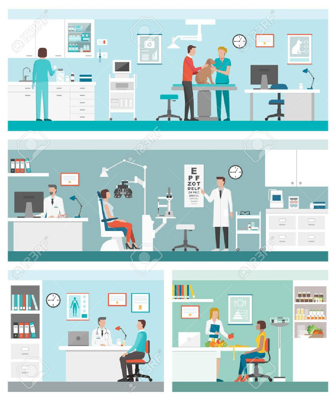 Healthcare and clinics banners set with doctors and patients: veterinarian clinic, optician, general practitioner and dietician - 53144272