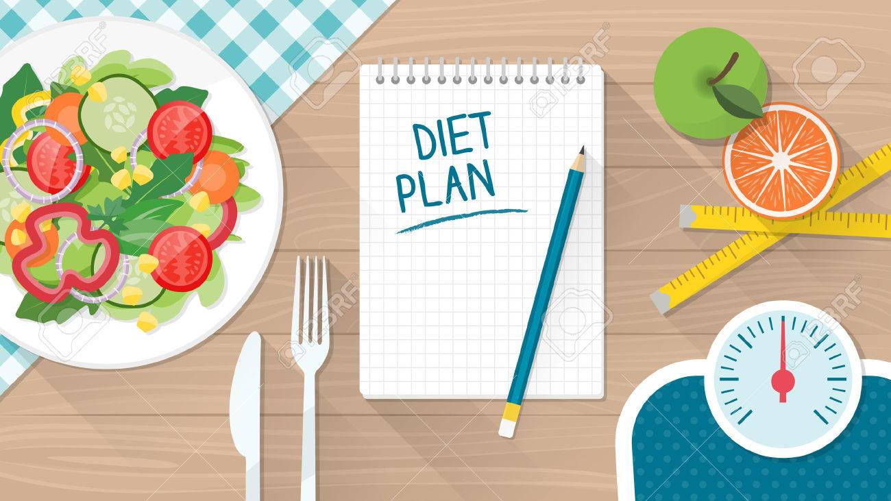 Food, diet, healthy lifestyle and weight loss with a dish of salad, table set and scale - 54798795