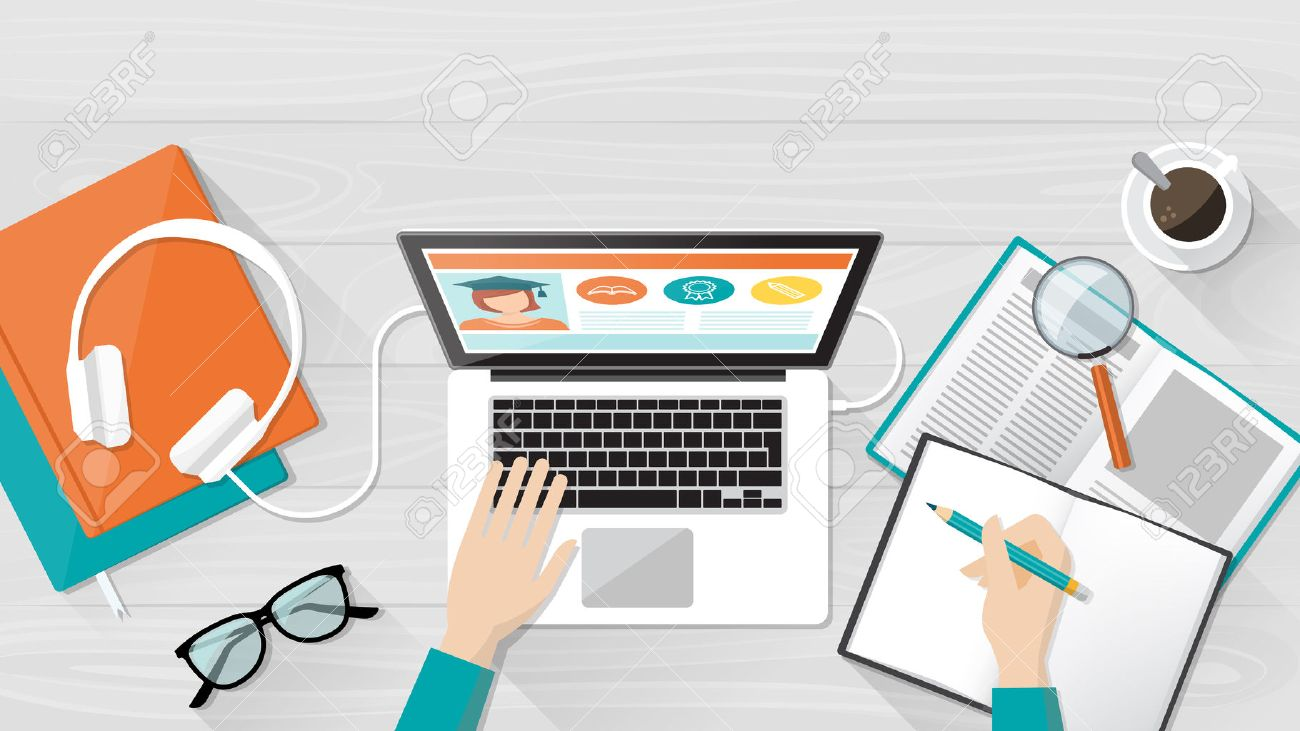 E-learning, education and university banner, student's desktop with laptop, books and hands, top view - 55804392