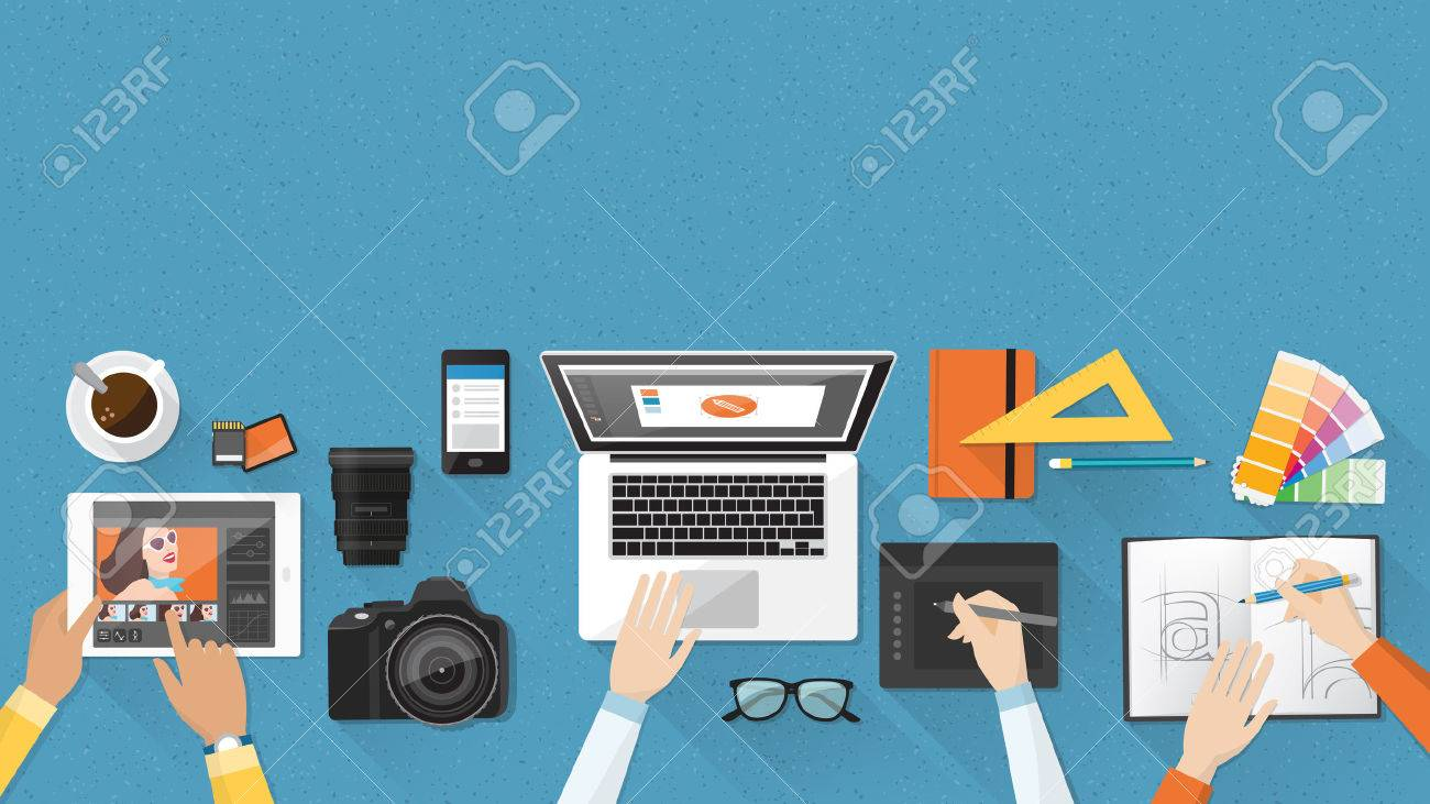 Creative team working together at office desk, teamwork and advertising concept - 55804400