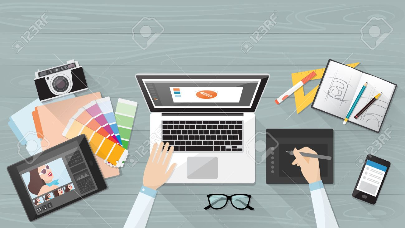Professional creative graphic designer working at office desk,..