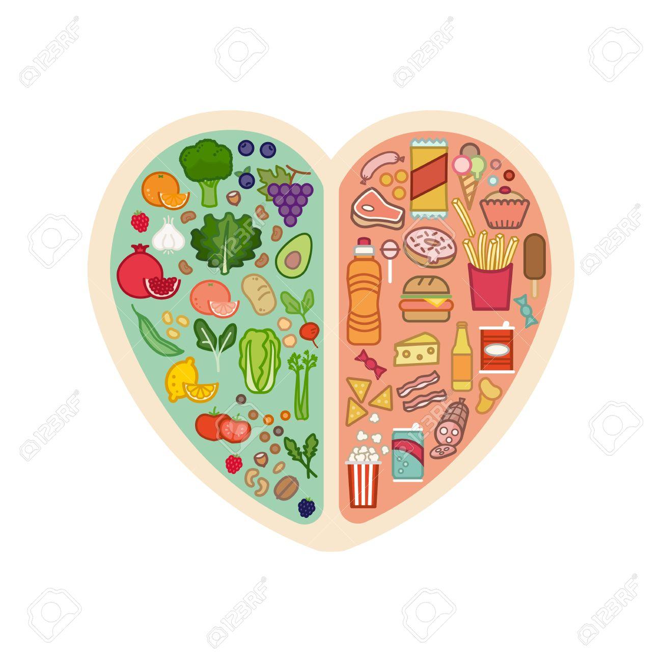 Corazón Humano Con Los Vehículos Sanos Frescos En Un Lado Y La Comida Chatarra Poco Saludable Por Otro Lado Alimentos Saludables Para El Corazón Concepto Ilustraciones Vectoriales Clip Art Vectorizado Libre De