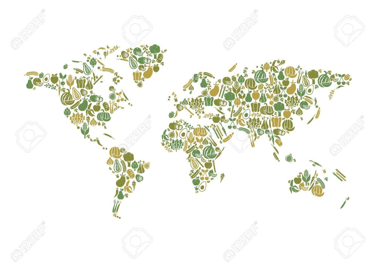 World map composed of fruits and vegetables nutrition and global vector world map composed of fruits and vegetables nutrition and global food production concept gumiabroncs Choice Image