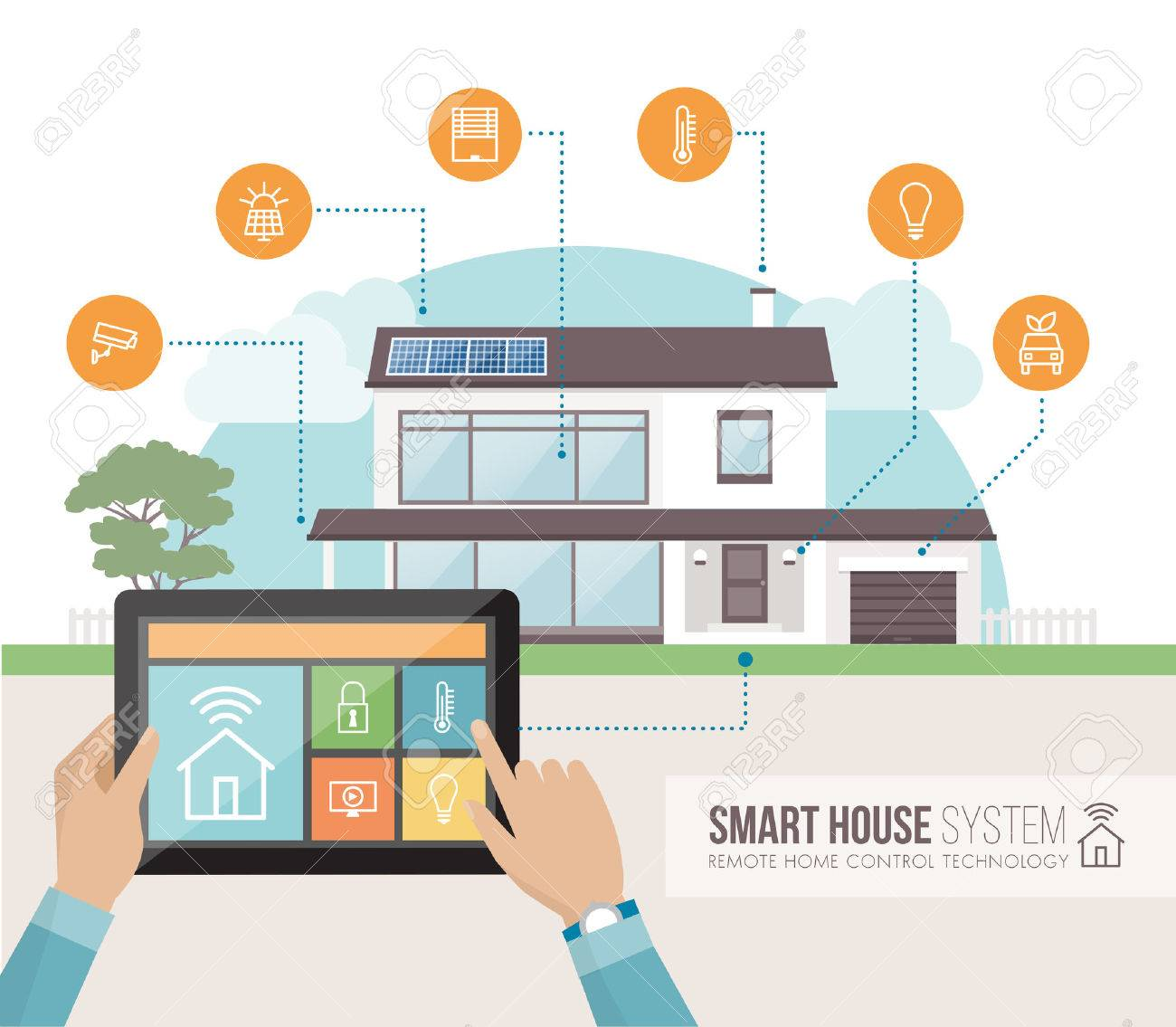 Smart House System Control And Mobile App On A Tablet, Contemporary House  With Icons Set