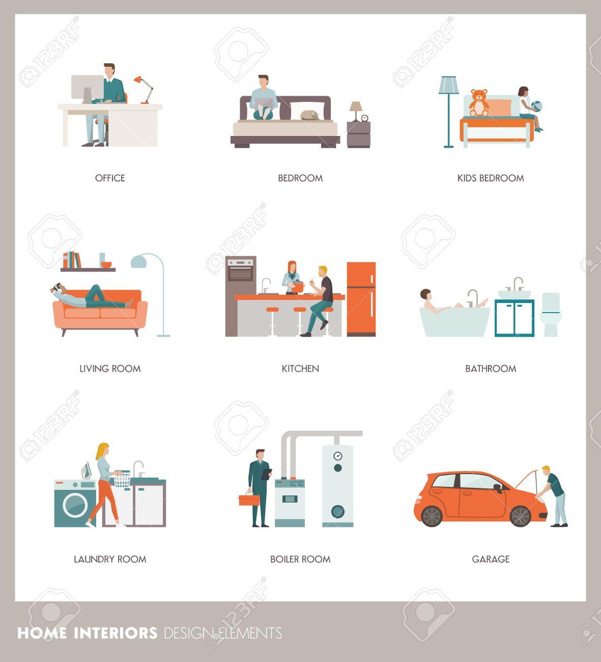 Konzeptionelle Home Zimmer Interieur Mit Menschen, Objekte Und ...