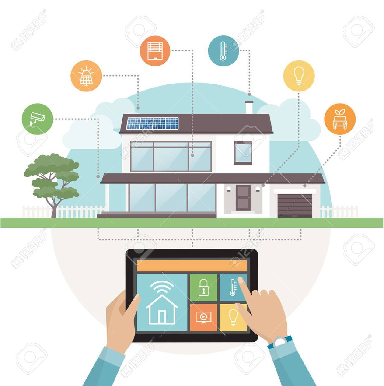 High Quality Smart House System Control And Mobile App On A Tablet, Contemporary House  With Icons Set