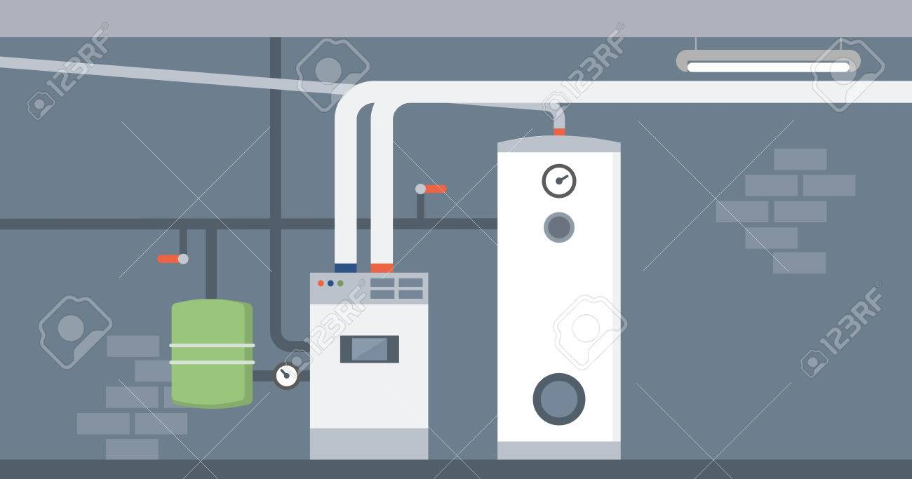Boiler in the home basement, modern energy saving heating system - 67042887