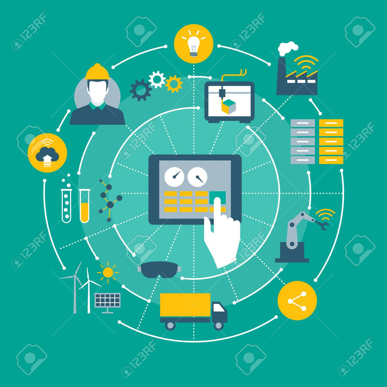 Industry 4.0, automation, internet of things concepts and tablet with human machine interface - 67021986