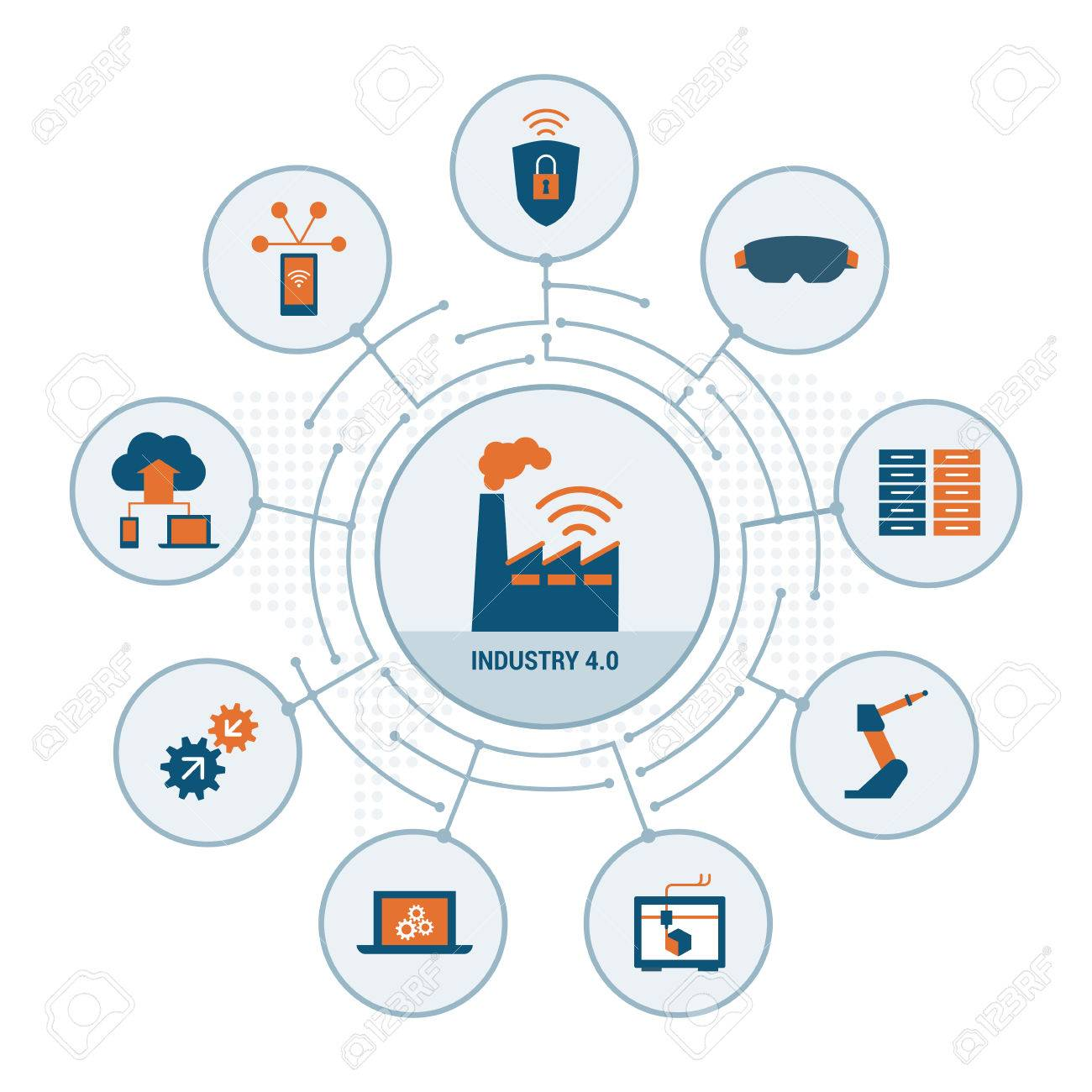 Industry 4.0 concepts: security, augmented reality, automation, internet of things and cloud computing - 67104346
