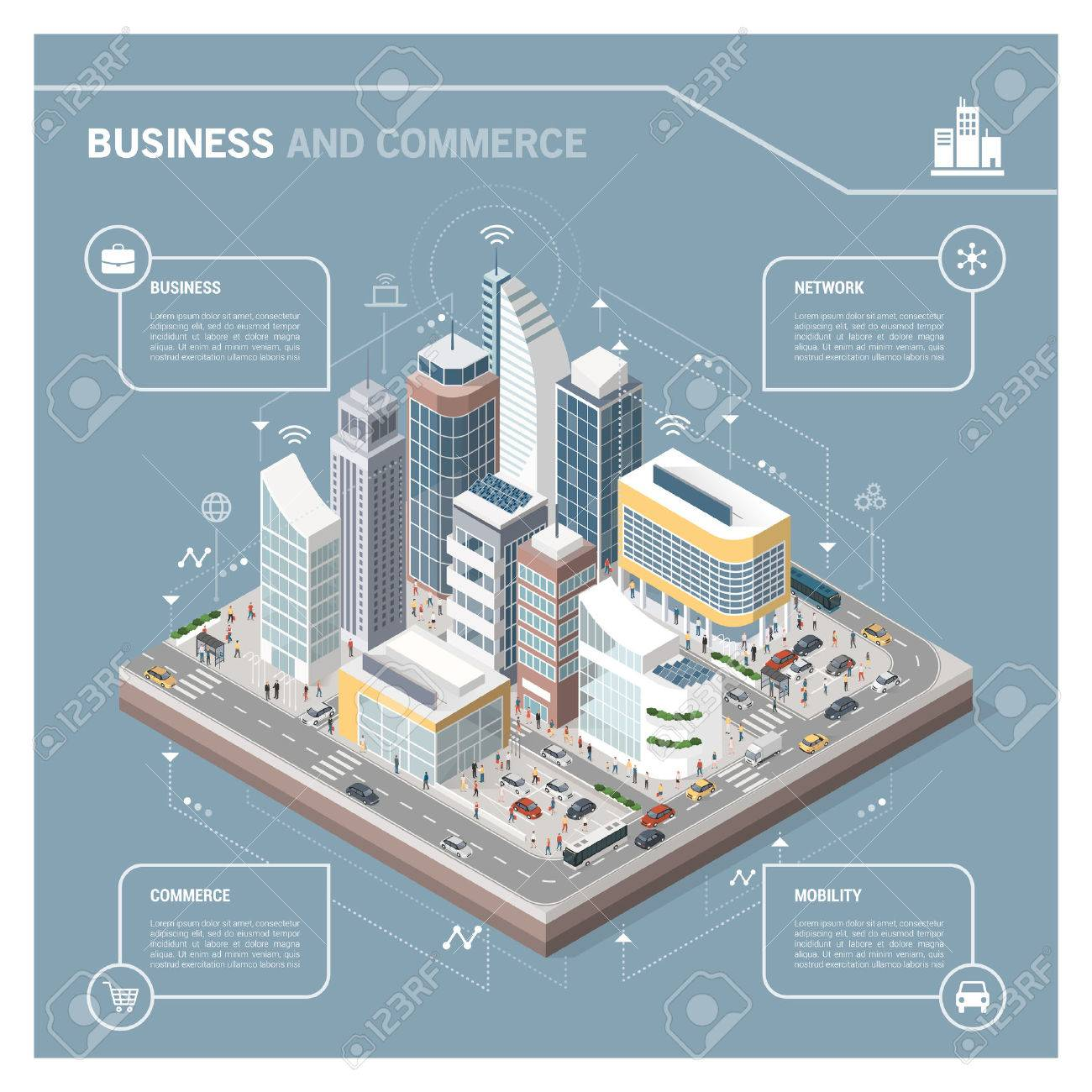 Isometric vector city with skyscrapers, people, streets and vehicles, commercial and business area infographic with icons Foto de archivo - 73037800