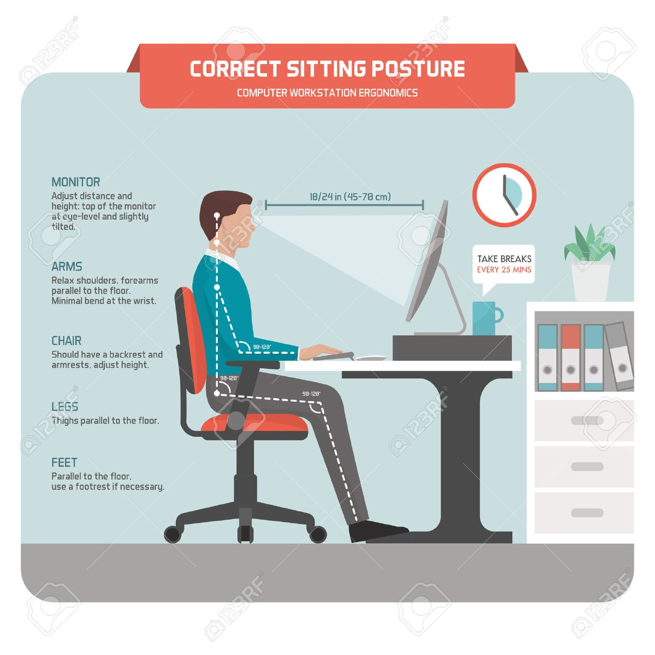 Correct sitting at desk posture ergonomics: office worker using a computer and improving his posture - 75835715