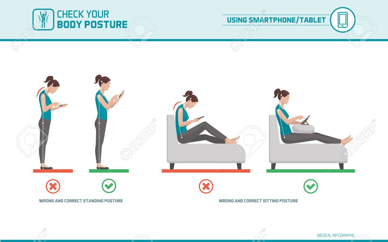 Smartphone and tablet ergonomics: how to use mobile devices correctly when standing and sitting, posture correction - 75835714