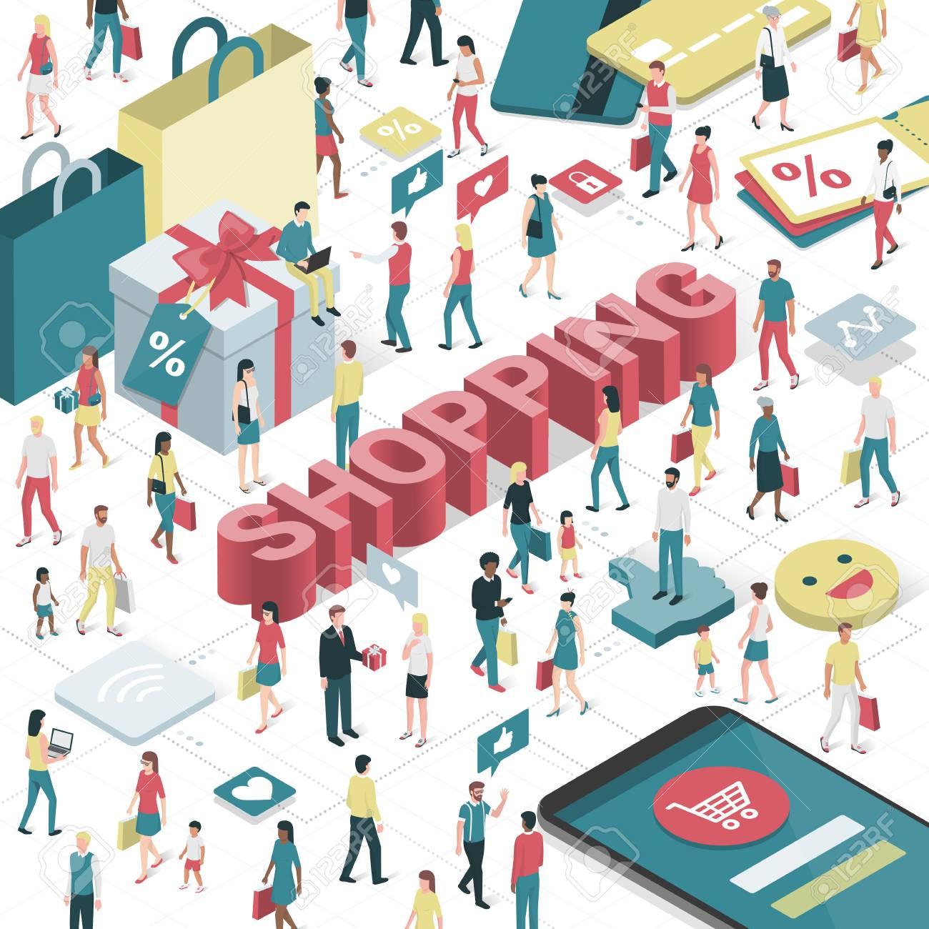 People enjoying shopping online and purchasing products: technology, social media and retail concept - 79965332