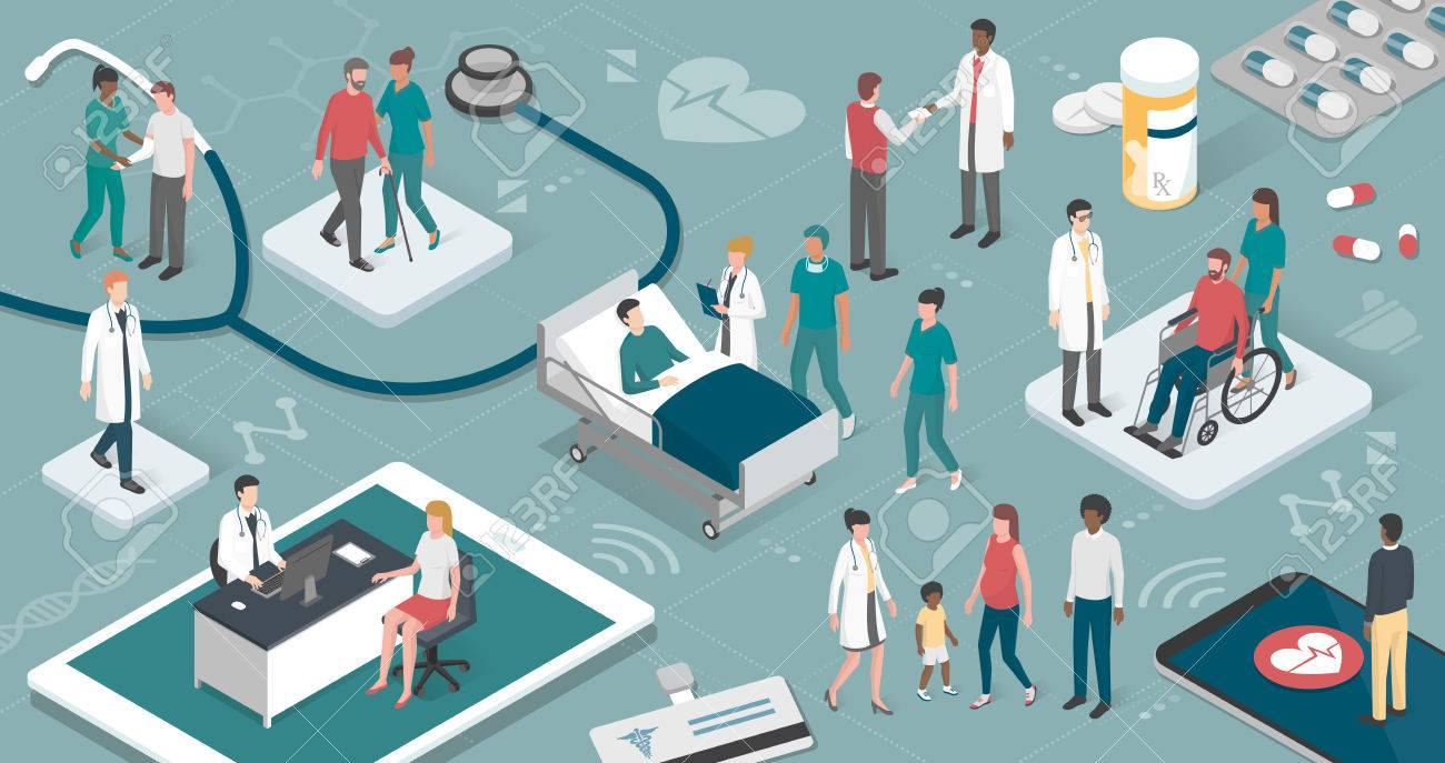 Doctors and nurses taking care of the patients and connecting together: healthcare and technology concept - 80265858
