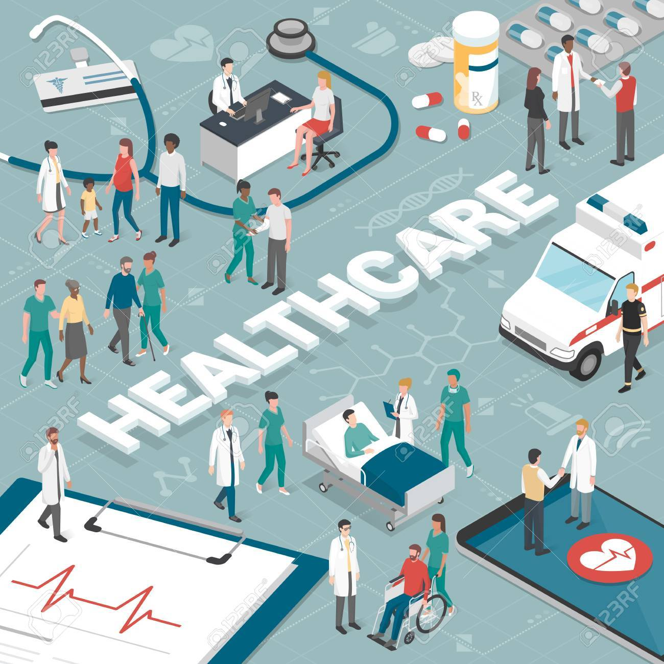Doctors and nurses taking care of the patients and connecting together online: healthcare and technology concept. - 86088035