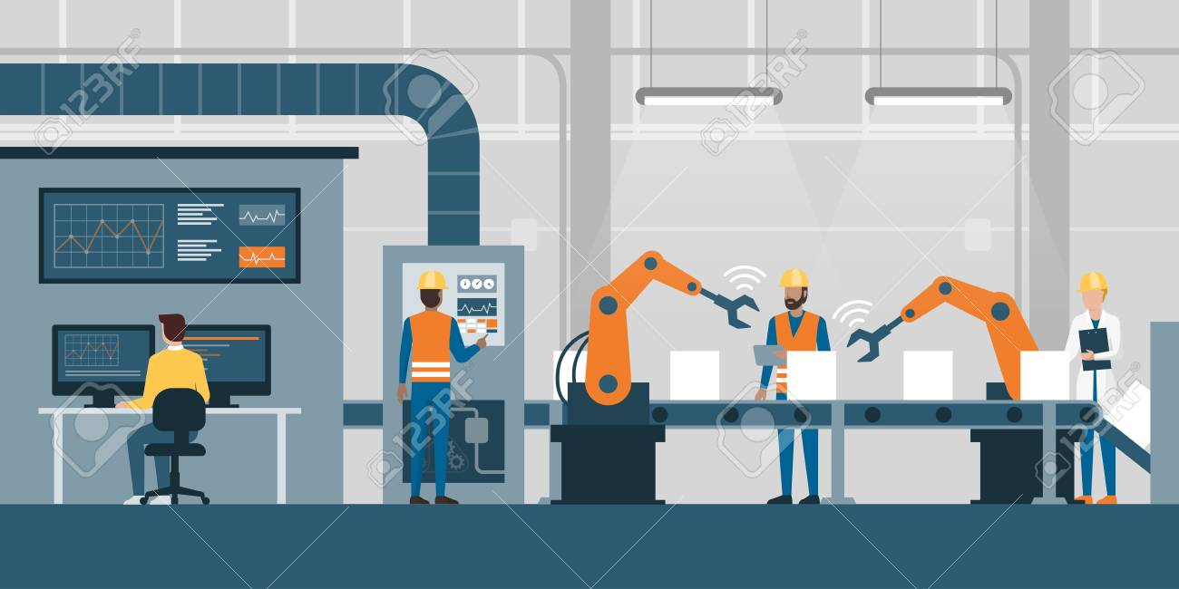 Efficient smart factory with workers, robots and assembly line, industry 4.0 and technology concept - 91508489