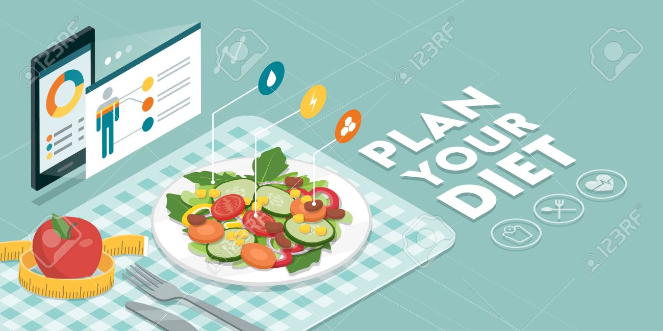 Food and diet app showing nutrition facts and calories of a meal, healthy eating and technology concept - 96512896