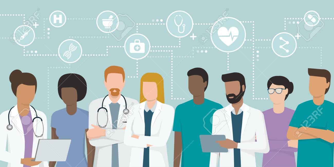 Multi-ethnic team of doctors and nurses working together - 97349394