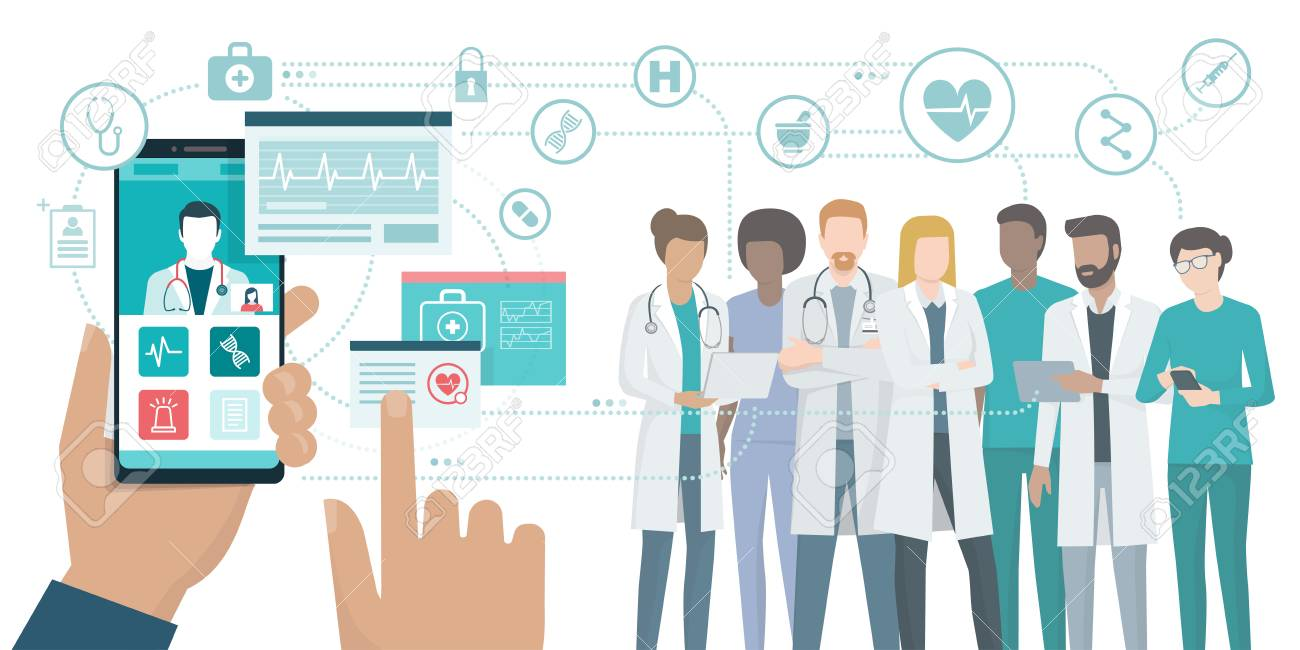 User video calling a doctor using and healthcare app on his smartphone and professional medical team connected: online medical consultation concept. - 97625168