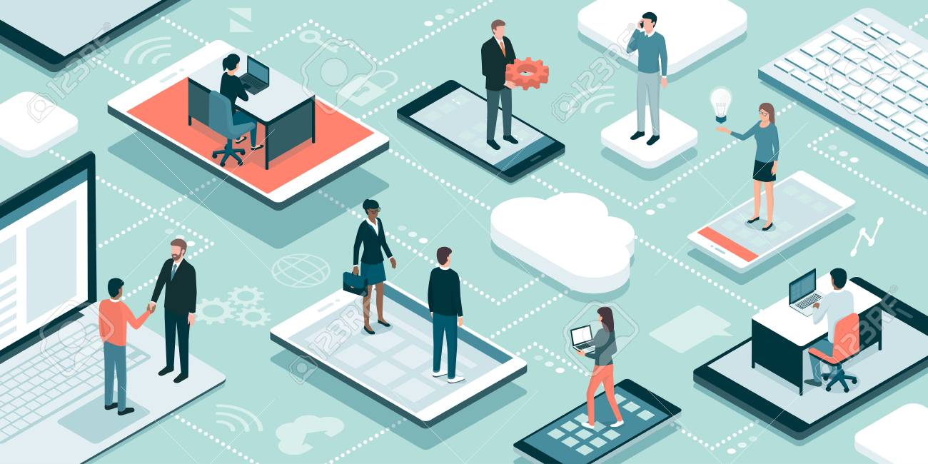 Business people and freelancers working online, they are connecting through their devices, meeting and sharing their skills - 98773079