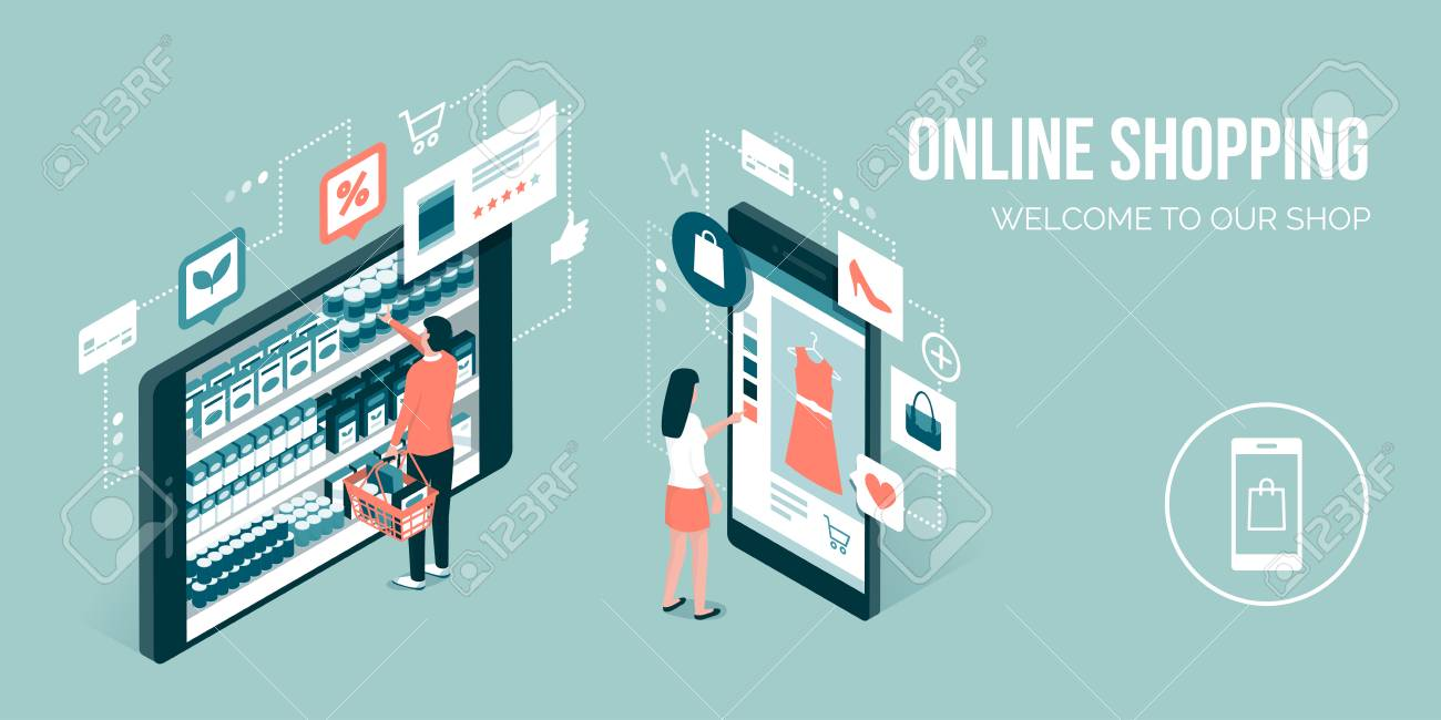 Users doing online shopping and buying grocery items using a mobile app: technology and retail concept - 98773144