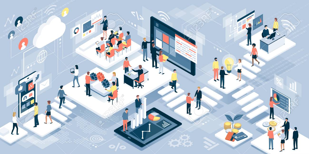 Isometric virtual office with business people working together and mobile devices: business management, online communication and finance concept - 100416017