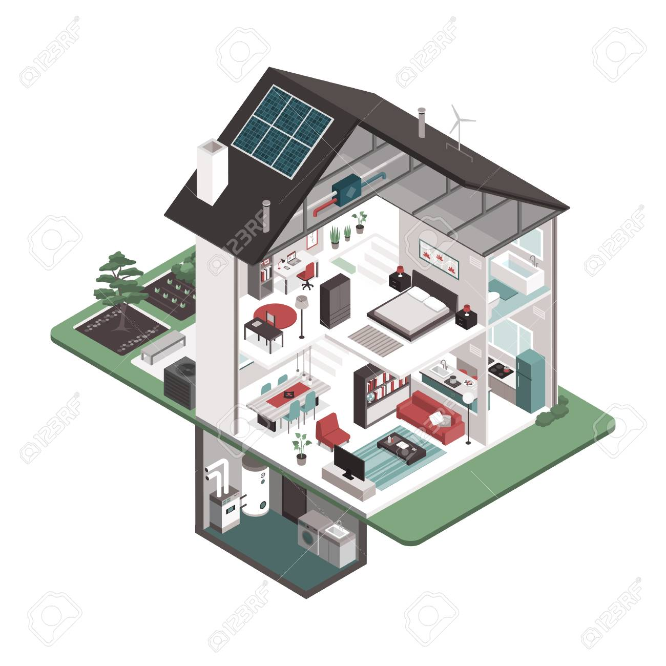 Contemporary Energy Efficient Isometric House Cross Section And Saver Circuit Room Interiors On White Background Real Estate