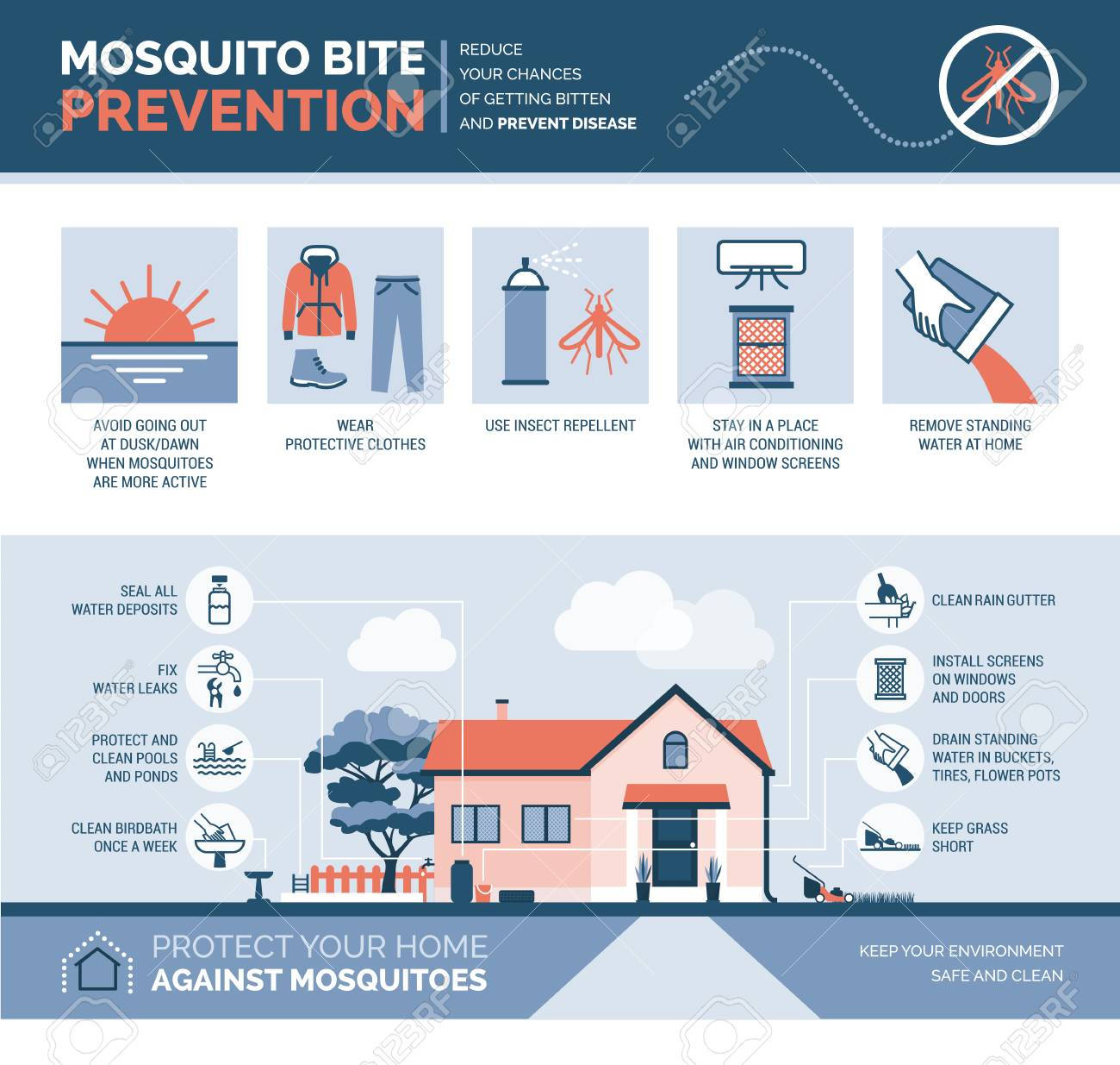 Mosquito bite prevention infographic: how to avoid mosquito bites and how to keep your house safe - 110466138