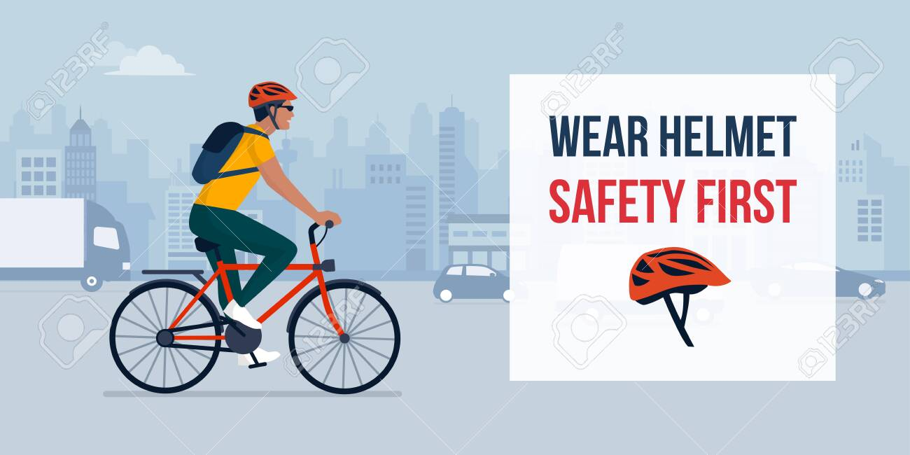 Wear Helmet When Riding A Bike Man Cycling In The City Street Royalty Free Cliparts Vectors And Stock Illustration Image 135387762