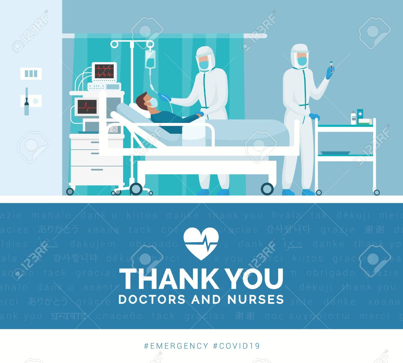 Thank you doctors and nurses working in the hospitals and fighting the covid-19 outbreak - 142174434