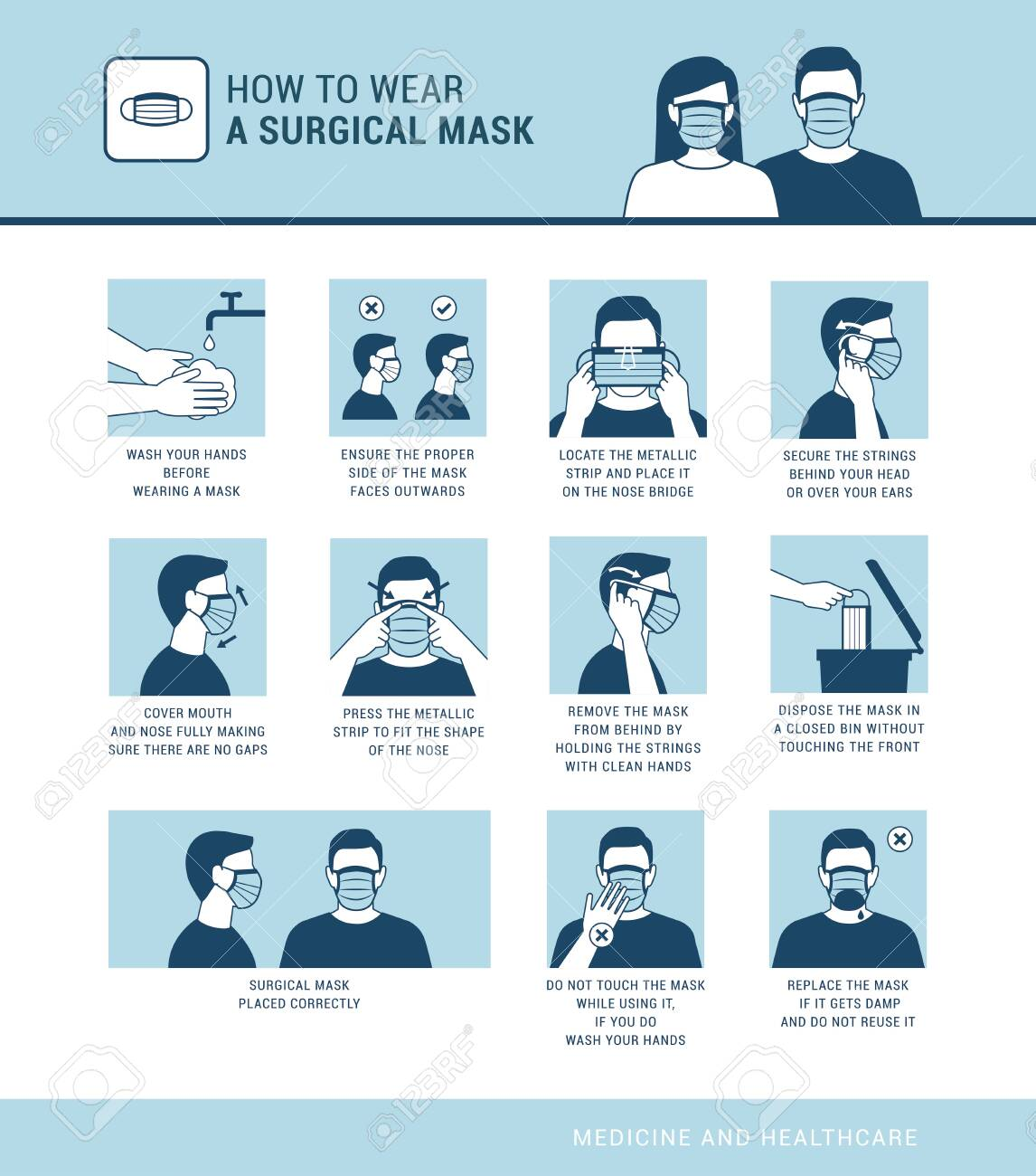 How to wear a surgical mask properly, virus outbreak prevention and pollution protection - 142174433