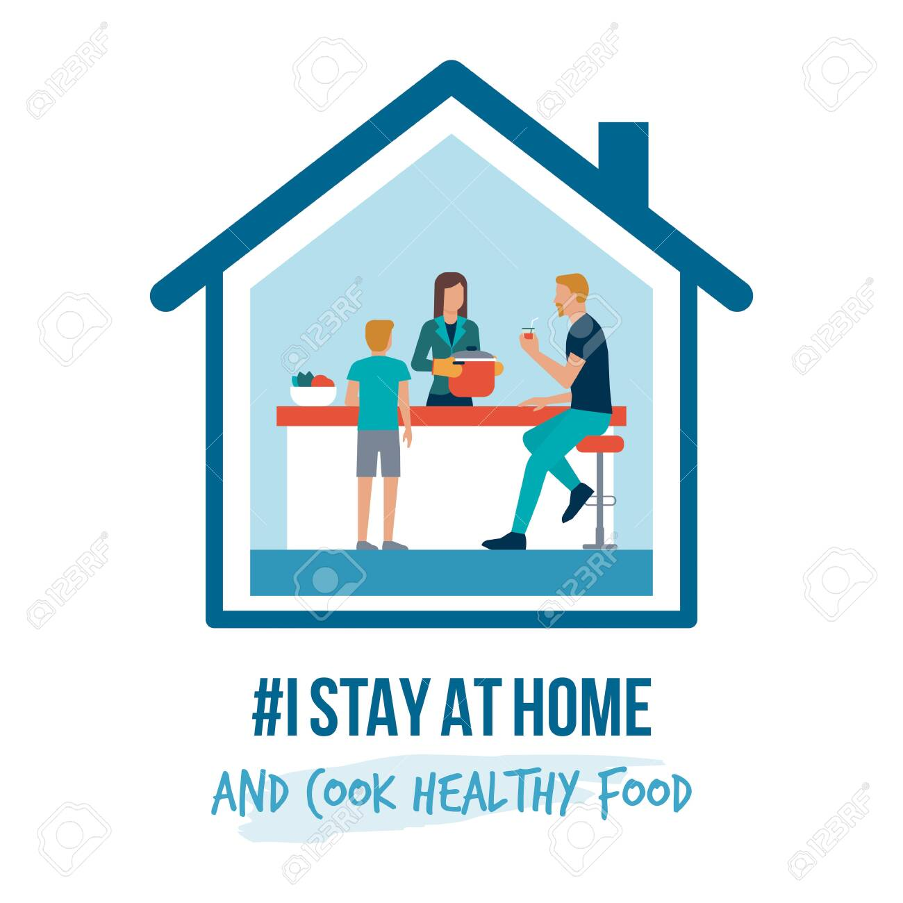 I stay at home awareness social media campaign and coronavirus prevention: family cooking healthy food together - 142357993