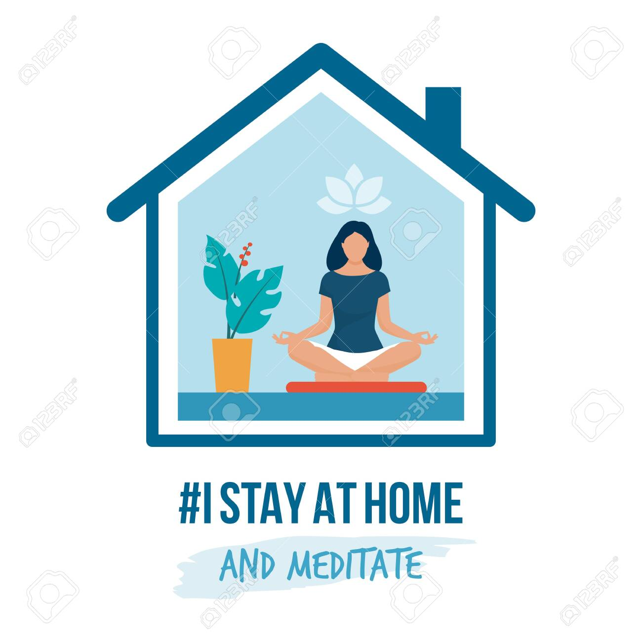 I stay at home awareness social media campaign and coronavirus prevention: woman sitting in the position and practicing meditation - 142774881