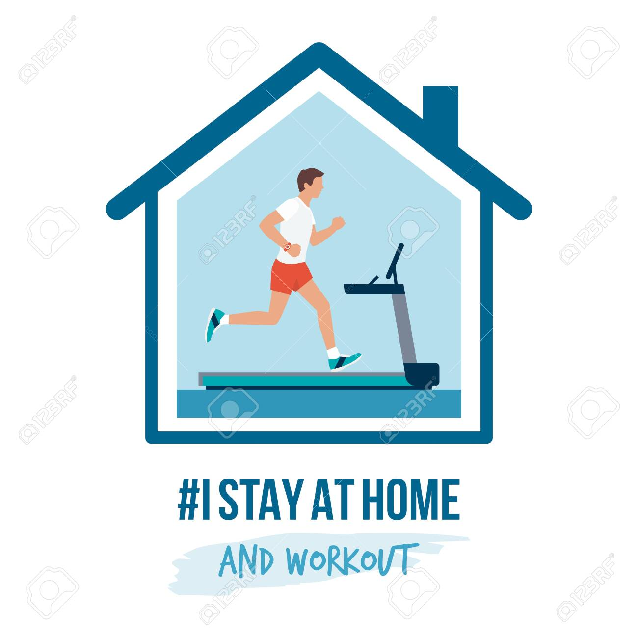 I stay at home awareness social media campaign and coronavirus prevention: man running on the treadmill at home - 142358109