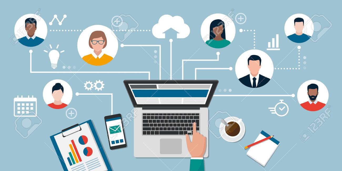 People with different skills connecting together online and working on the same project, remote working and freelancing concept - 143501980