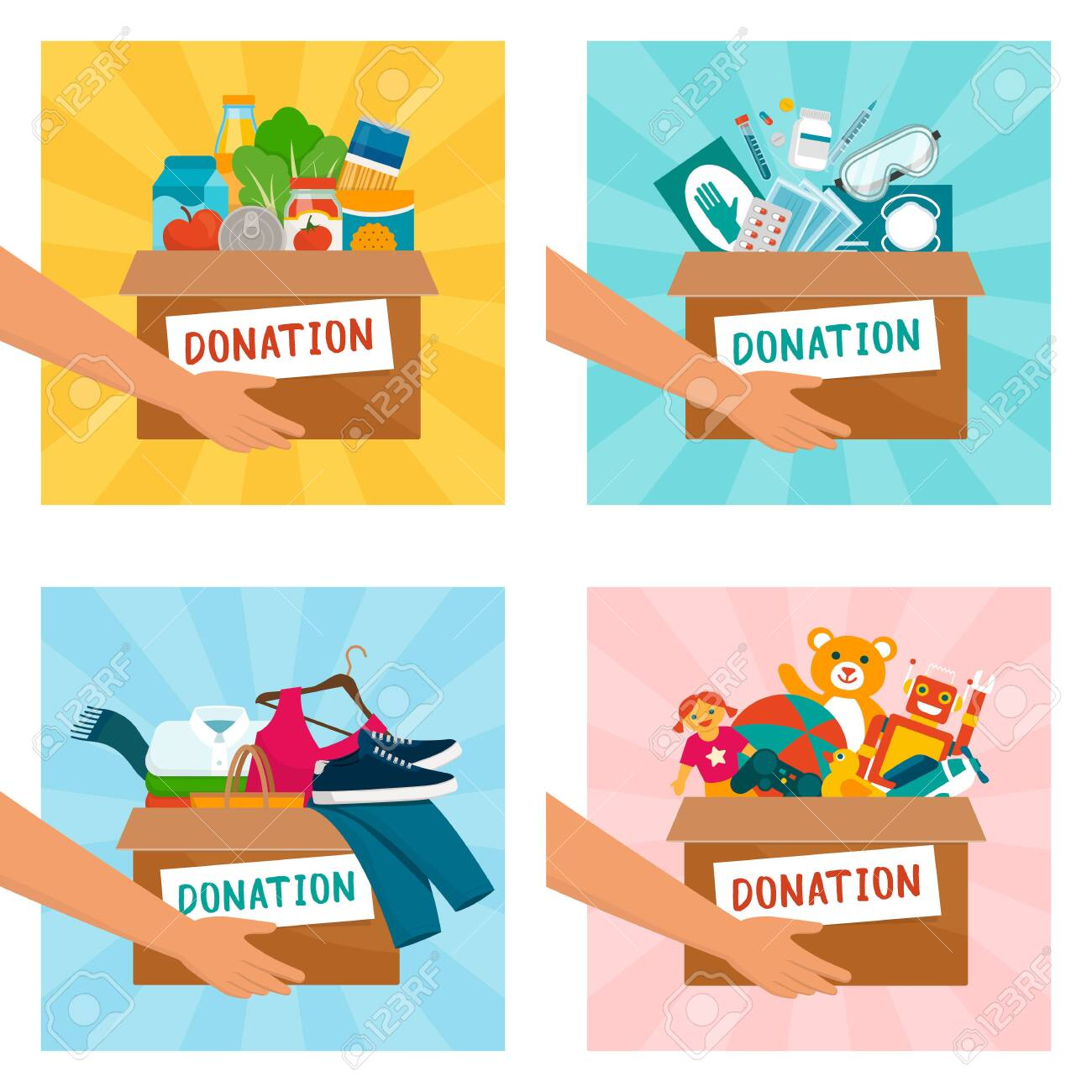 Volunteer holding donation boxes with food, medical equipment, clothing and toys - 146948570