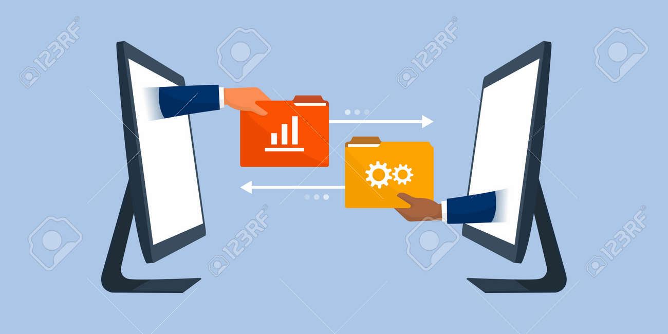 Business team working remotely and exchanging files online, data transfer tools concept - 158274239
