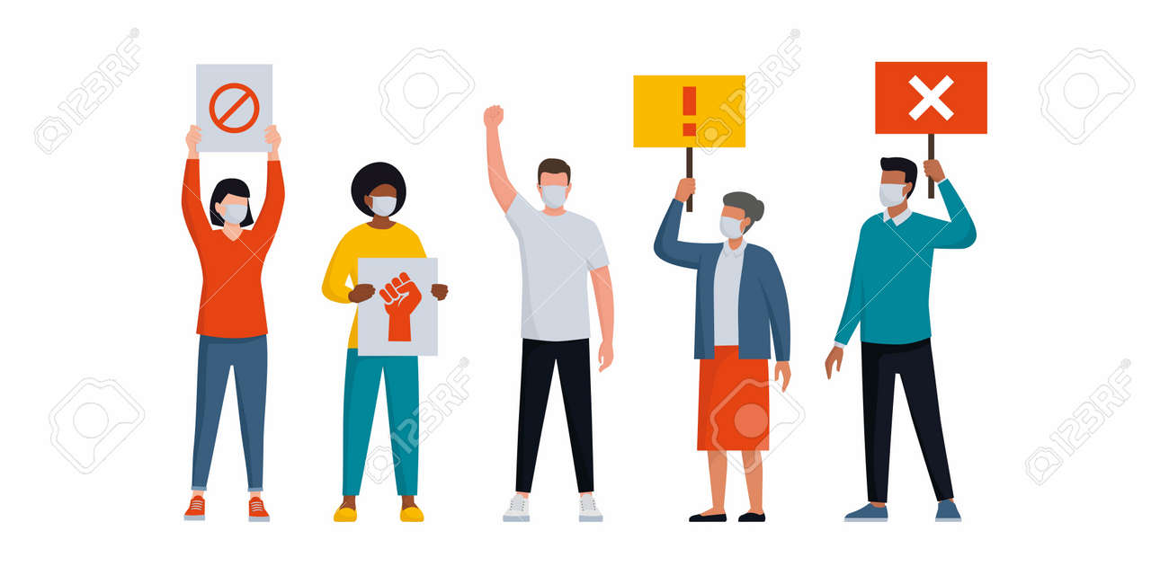 People wearing protective face masks and protesting together, they are holding signs and standing - 158274254