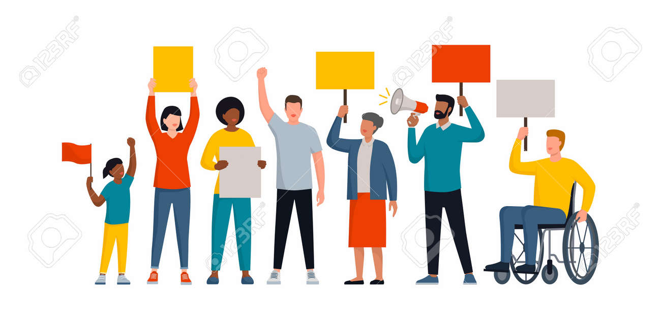 Group of diverse people holding signs and protesting together, social movements and rights concept - 158274256