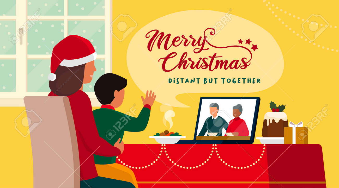 Families celebrating Christmas at home and connecting online on video call, the child is waving at the grandparents on the laptop screen while having lunch - 161453070