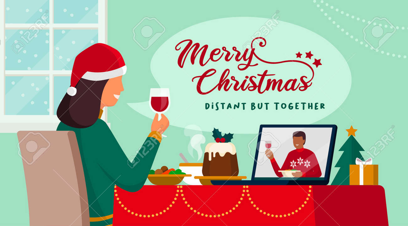 Couple celebrating Christmas on a video call, they are eating and toasting together, coronavirus covid-19 social distancing - 161454419