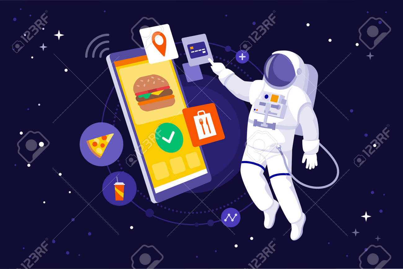 Astronaut floating in space and ordering fast food using a huge smartphone - 162711419