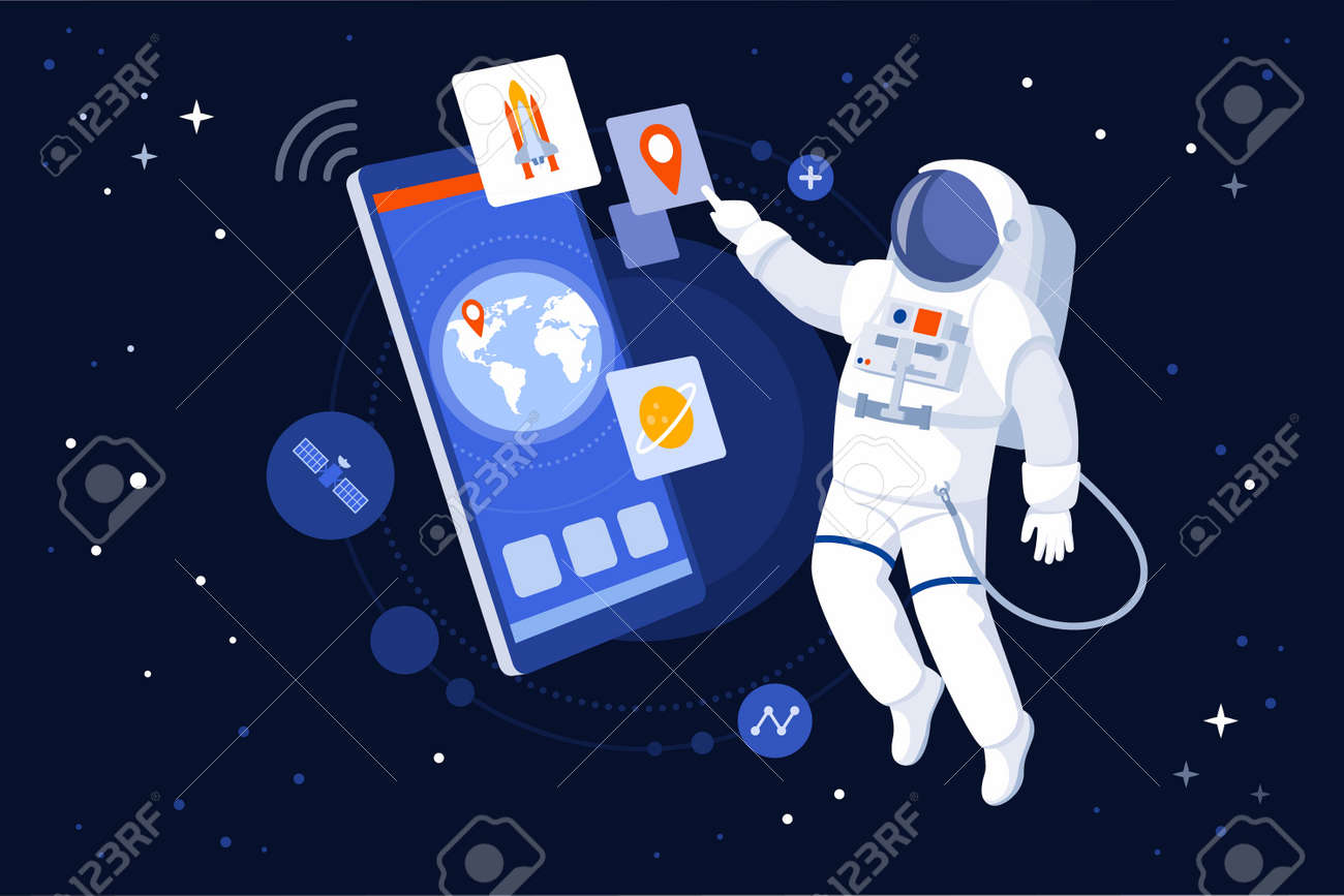 Astronaut floating in outer space and using GPS navigation on his smartphone - 164080734
