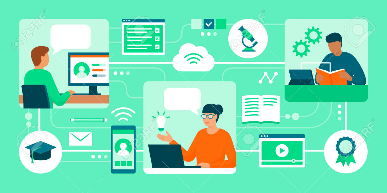 Distance learning, e-learning platforms and people attending online courses - 164080735